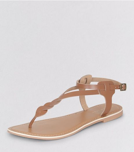 Tan Leather Twist Strap Toe Post Sandals | New Look