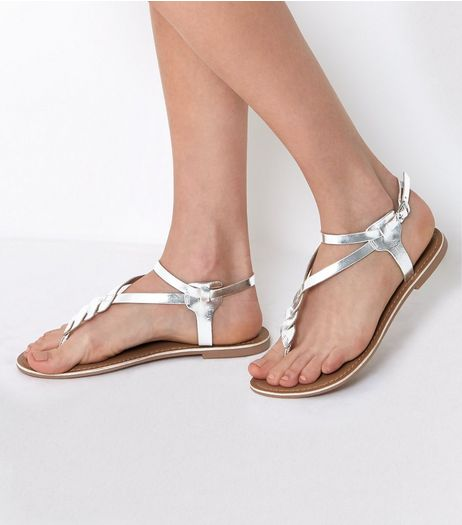 Silver Leather Metallic Twist Front Sandals | New Look