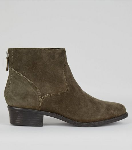 Wide Fit Khaki Suede Ankle Boots | New Look