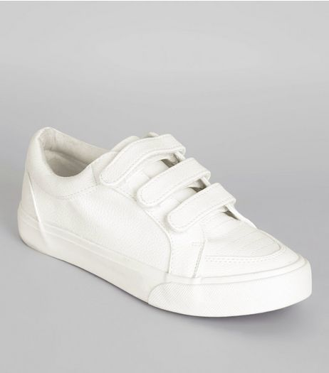 Teens White Velcro Strap Trainers | New Look