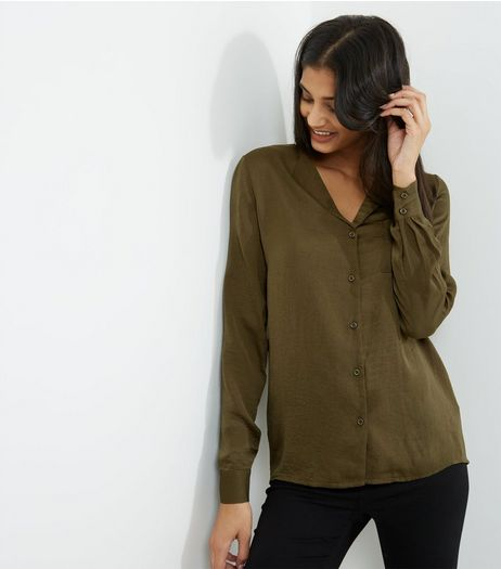 Tall Khaki Sateen Pyjama Style Blouse | New Look