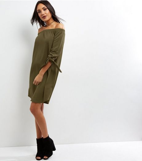 Tall Khaki Tie Sleeve Bardot Neck Dress | New Look