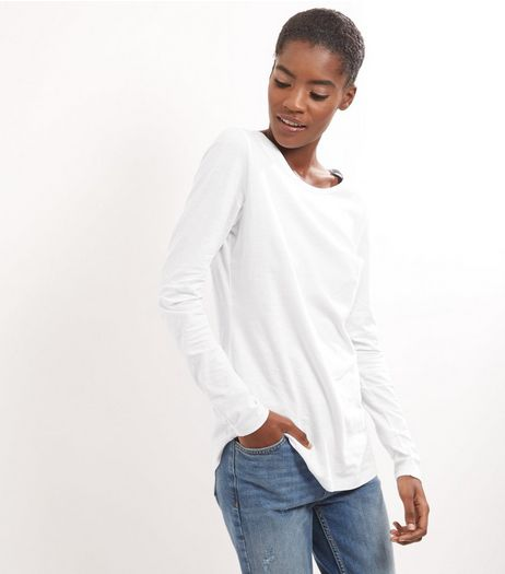 Tall White Cotton Long Sleeve T-Shirt | New Look