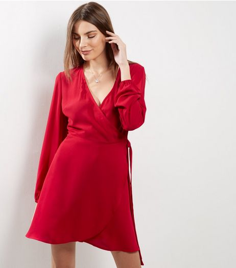 Red Wrap Front Long Sleeve Dress | New Look