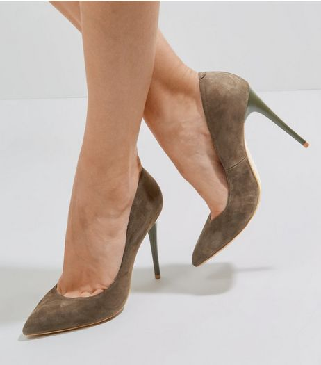 Khaki Suede Pointed Court Shoes | New Look