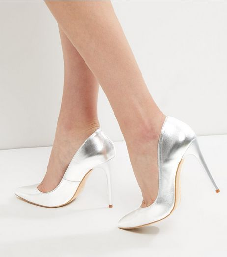 Silver Leather Pointed Court Shoes | New Look