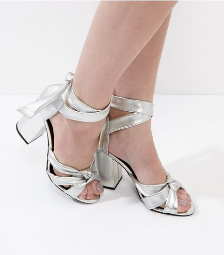 Silver Leather Tie Up Block Heel Sandals | New Look