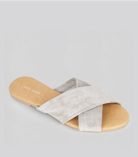Grey Suede Cross Strap Mules | New Look
