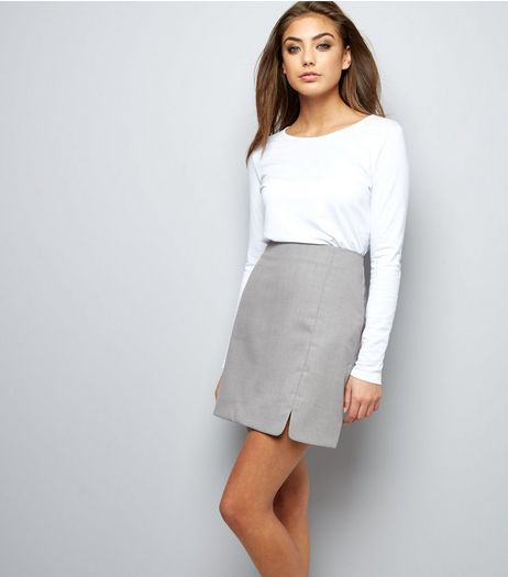 Grey Split Side Skirt  | New Look