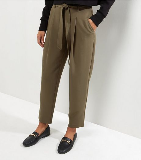 Khaki Tie Waist Trousers | New Look