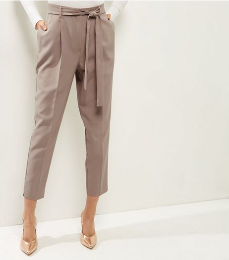 Stone Tie Waist Trousers  | New Look