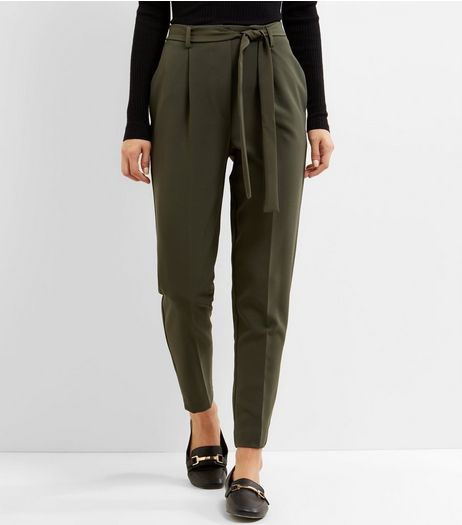 Khaki Tie Waist Slim Leg Trousers  | New Look