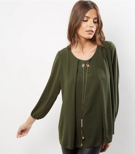 Loving This Khaki Chain Front Oversized Tunic  | New Look