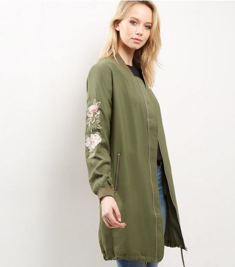 Khaki Floral Embroidered Longline Bomber Jacket  | New Look