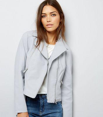 Grey Leather-Look Biker Jacket