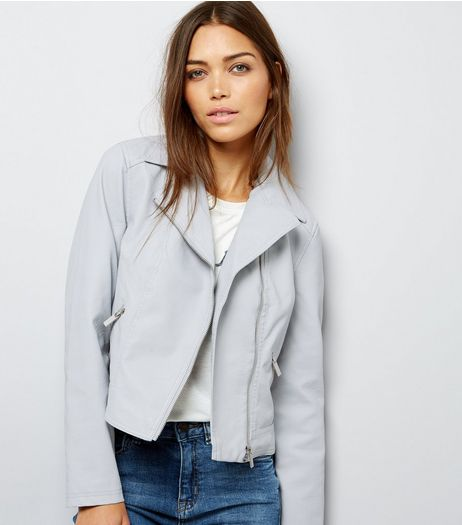 Grey Leather-Look Biker Jacket  | New Look