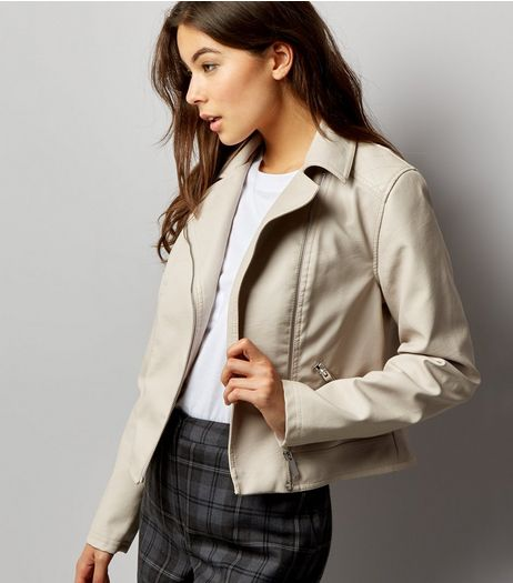 Stone Leather-Look Biker Jacket  | New Look