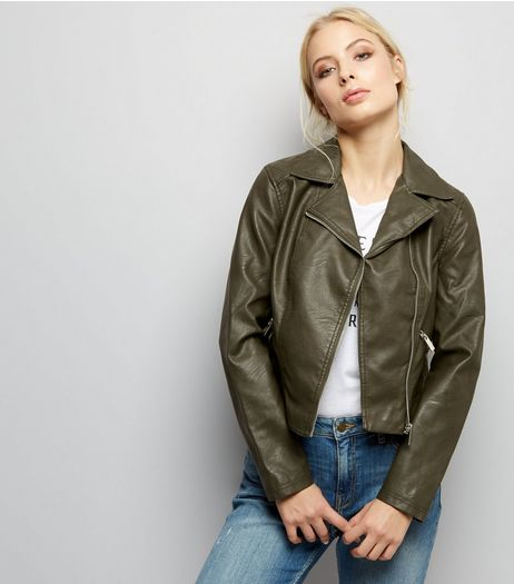 Dark Green Leather-Look Biker Jacket  | New Look