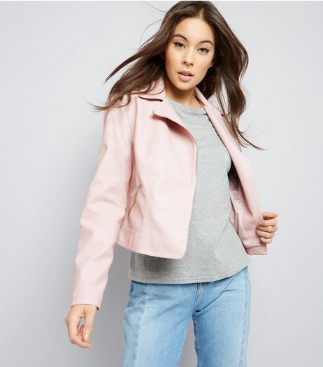 Shell Pink Leather-Look Biker Jacket  | New Look