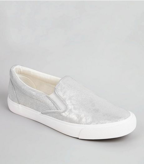 Silver Metallic Plimsolls | New Look