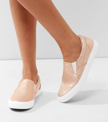 Pink Metallic Snakeskin Slip On Plimsolls | New Look