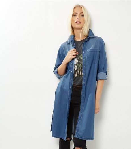 Parisian Blue Denim Split Side Longline Shirt  | New Look