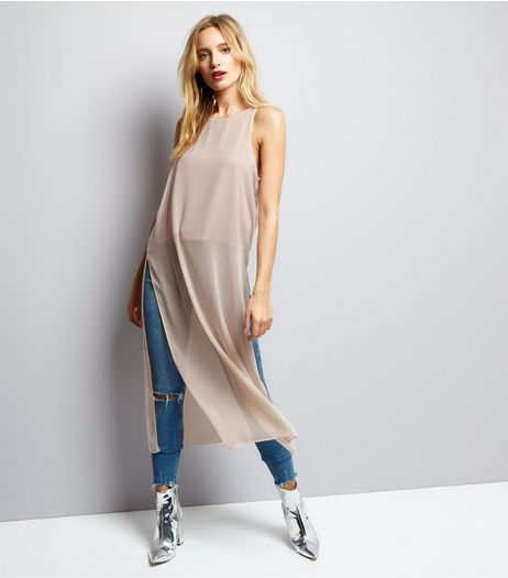 Shell Pink Split Side Longline Sleeveless Top  | New Look