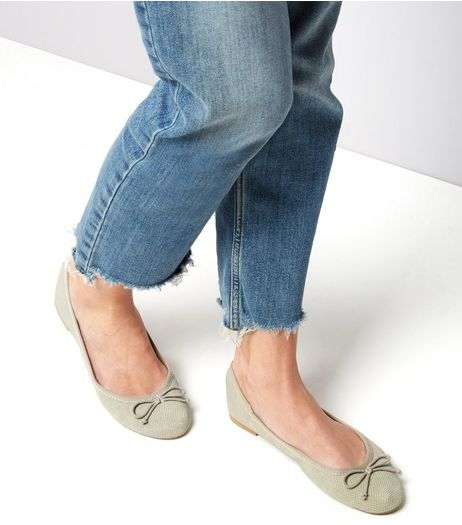 Grey Suedette Perforated Ballet Pumps | New Look
