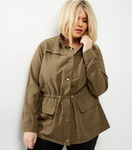 Curves Khaki Button Front Shacket | New Look