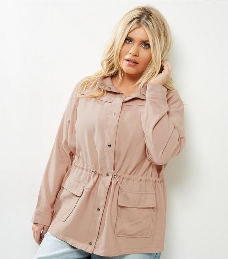 Curves Pink Drawstring Waist Shacket | New Look