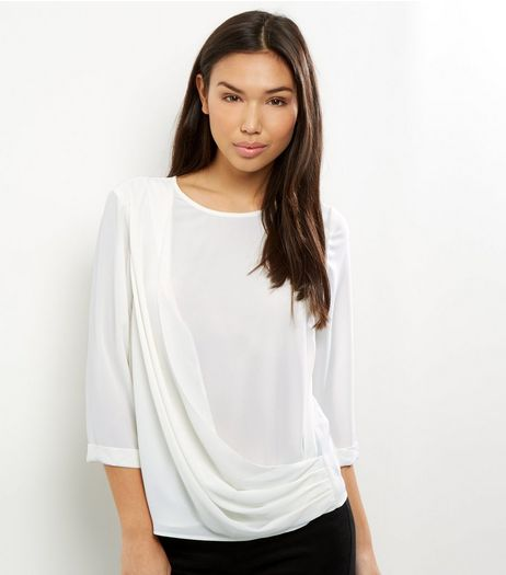 White Drape Front 3/4 Sleeve Top  | New Look