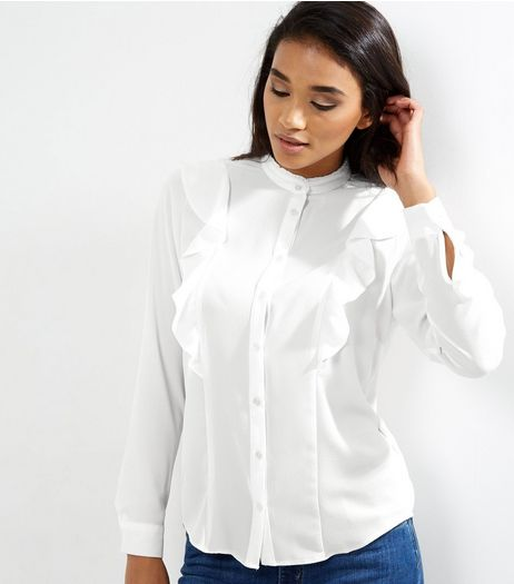 White Frill Trim Long Sleeve Shirt  | New Look