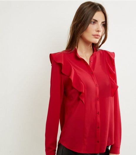 Red Frill Trim Long Sleeve Shirt | New Look