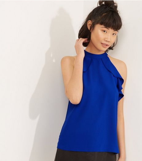 Blue Frill Trim Halter Neck Top | New Look