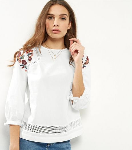 White Floral Embroidered Boho Top | New Look