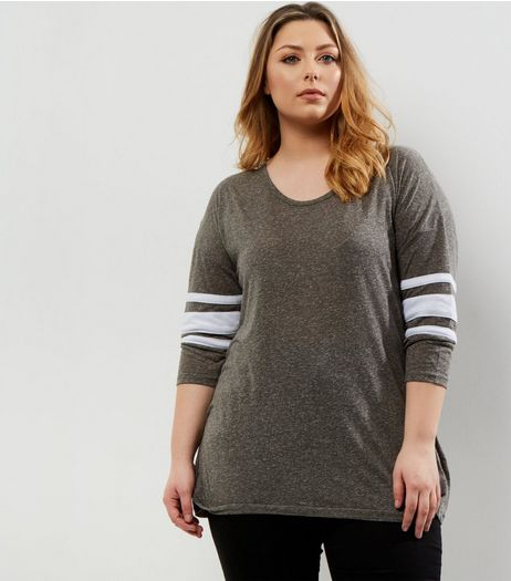 Curves Khaki Stripe 3/4 Sleeve T-Shirt | New Look