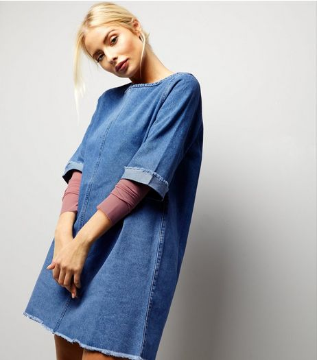 Blue Denim Raw Hem Tunic Dress | New Look