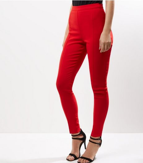 Red Slim Fit Bengaline Trousers  | New Look
