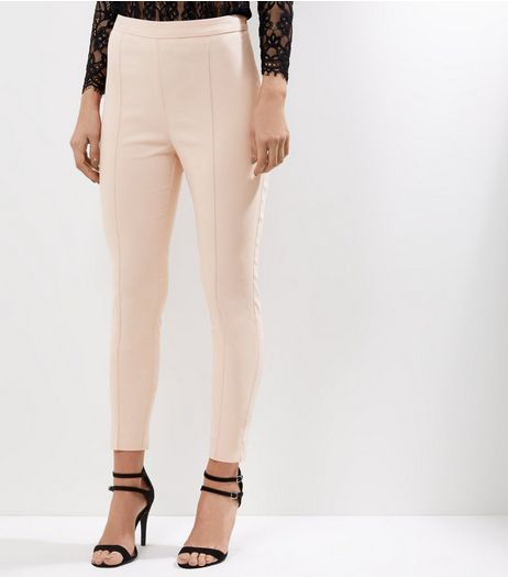 Shell Pink Slim Fit Bengaline Trousers  | New Look