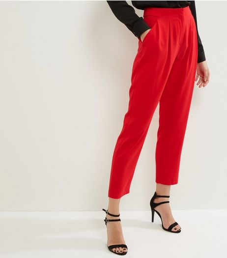 Red Slim Leg Cropped Trousers | New Look