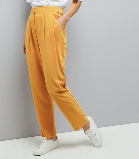 Yellow Pleated Front Slim Leg Trousers | New Look