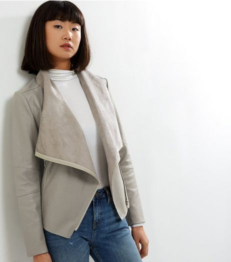Grey Leather-Look Zip Detail Waterfall Jacket | New Look