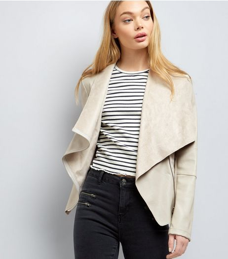 Stone Leather Look Zip Detail Waterfall Jacket | New Look