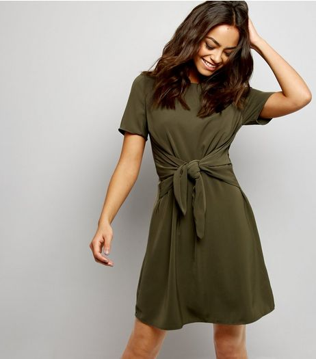 Khaki Tie Front A Line Dress | New Look