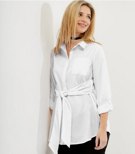 Maternity White Tie Front Shirt | New Look