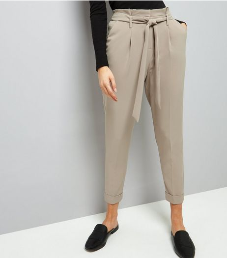 Stone Tie Waist Turn Up Hem Trousers  | New Look