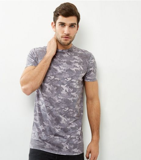 Khaki Camo Longline T-shirt | New Look
