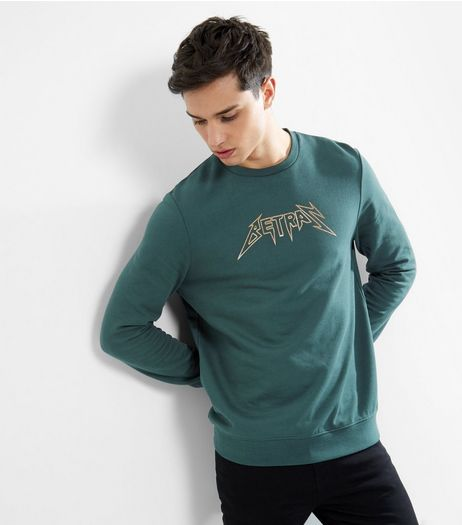Dark Green Slogan Print Long Sleeve Sweater  | New Look