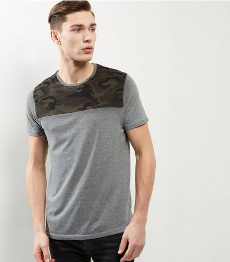 Grey Camo Panel T-shirt | New Look