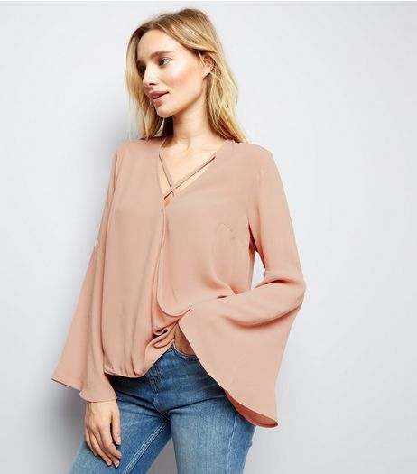 Pink Lattice Front Wrap Front Flare Sleeve Top  | New Look
